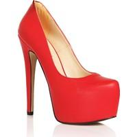 Sothe HEMN-1029 Kırmızı Deri Kadın Platform Yüksek Topuklu Çapraz Bantlı Gece Abiye Kadın Ayakkabı
