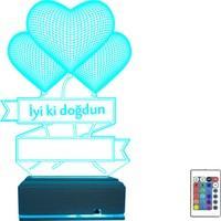 Algelsin Gece Lambası Aşk Temalı 3D 3 Boyutlu Iyi Ki Doğdun Yazılı 16 Renkli Hediye Masa Lambası