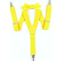Dwoy Metal Klipsli Sarı Çocuk Pantolon Askısı & Papyon Seti