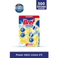Bref Power Aktiv Katı Tuvalet Bloğu İkili, Limon Kokulu 2x50gr