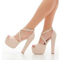 Sothe ECE-1007 Ten Deri Kadın Platform Yüksek Topuklu Çapraz Bantlı Gece Abiye Kadın Ayakkabı