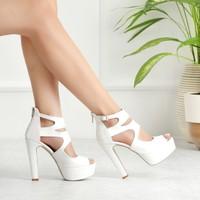 Sothe ECE-1013 Beyaz Deri Kadın Platform Yüksek Topuklu Çapraz Bantlı Gece Abiye Kadın Ayakkabı