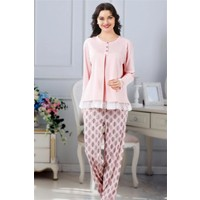 Manolya Pembe Dantel Detaylı Hamile Lohusa Pijama Takımı
