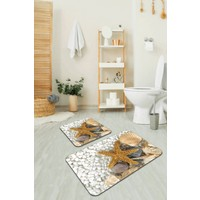 RugViva Dijital Banyo Halısı Klozet Takımı 2'li Banyo Paspas Seti BS209 60 x 90 cm + 60 x 60 cm