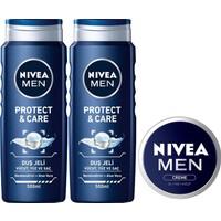 Nivea Protect & Care Duş Jeli 500 ml x 2 Adet + Men Krem 30 ml