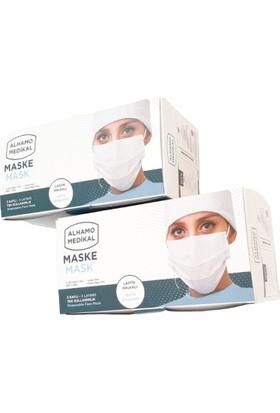 Alhamo Medikal 3 Katlı Telli Tek Kullanımlık Cerrahi Maske 50 Adet - 2'li