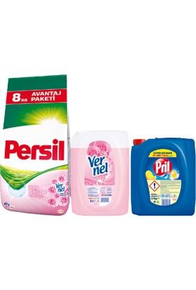Persil 8 kg Gül + Vernel 5 Lt Gül + Pril 4 kg Limon 3'lü Set