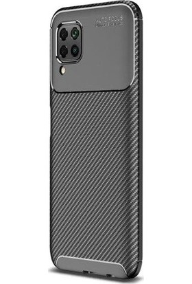 Teleplus Huawei P40 Lite Kılıf Negro Karbon Desenli Silikon Siyah + Nano Ekran Koruyucu