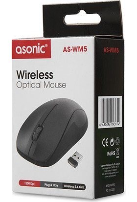 Asonic AS-WM5 1200 DPI Kablosuz Mouse