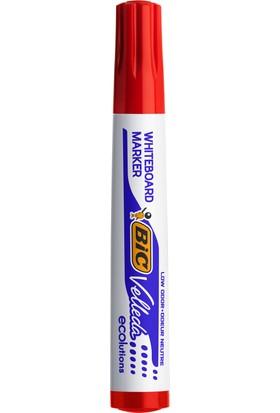 Bic Velleda 1701 Eco Yuvarlak Uçlu Beyaz Tahta Kalemi, Kırmızı 12'li Kutu