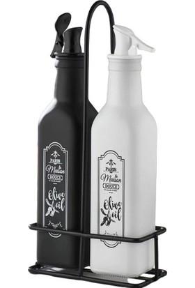 İkra Home Standlı 2'li Siyah ve Beyaz Mat Boyalı Cam 25 ml Sirkelik ve Yağdanlık