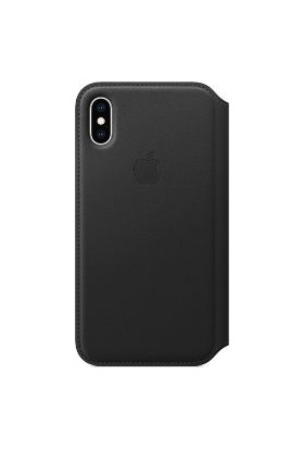 Apple iPhone XS Folio Deri Kılıf - Siyah MRWW2ZM/A
