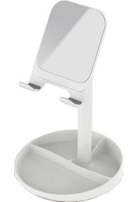 Vendas Oynar Başlıklı Aynalı Masa Üstü Tablet Stant Beyaz