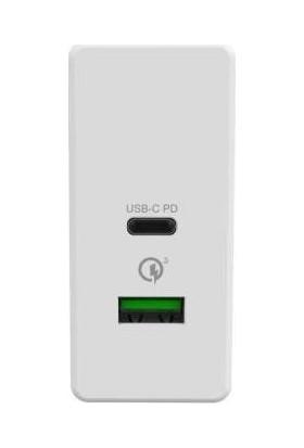 Celly Super USB + Type-C 30W Şarj Cihazı Beyaz