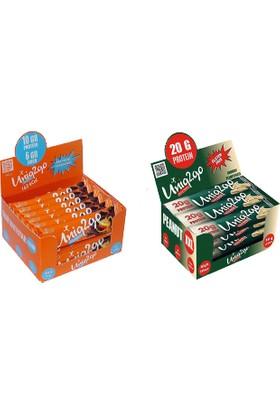 UNIQ2GO Peanut XXL - Fıstık Ezmeli XXL Proteinli Bar 12'li Kutu + Chocolight Portakal Parçacıklı Bar 16'lı Kutu - 28 Adet Bar