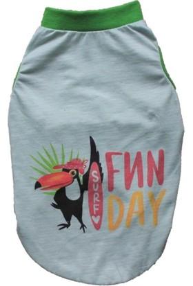 Pawstar Fun Day Baskılı Kedi Köpek Tişörtü Kedi Köpek Kıyafeti Mint M