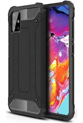 Fuji̇max Samsung Galaxy M31 Crash Sert Kaplamalı Zırh Özellikli Silikon Kılıf + Fiber Tam Kapatan 9h Nano Ekran Koruycu-Siyah