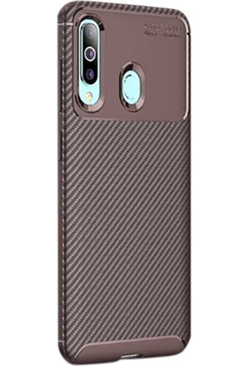 Gpack Samsung Galaxy M40 Kılıf Negro Karbon Dizayn Silikon Kahverengi