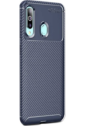 Gpack Samsung Galaxy M40 Kılıf Negro Karbon Silikon + Nano Glass Lacivert