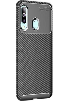 Gpack Samsung Galaxy M40 Kılıf Negro Karbon Silikon + Nano Glass Siyah