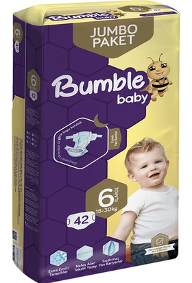 Bumble Jumbo Bebek Bezi 6 Numara 4'lü Paket 168'LI