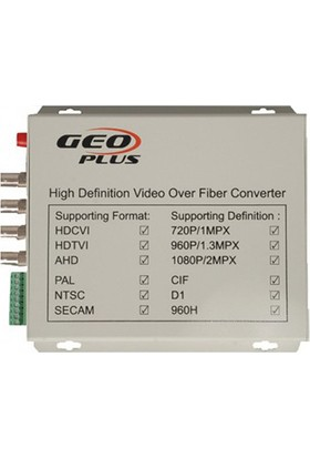 Geo Plus High Defination Universal Ahd/cvı/tvı 1080P, 4 CHANNEL,RS485, 20 Km. Fiber Converter.