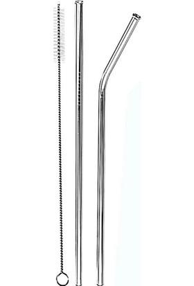 Positiveshop Paslanmaz 2'li Çelik Pipet ve Temizleme Fırçası