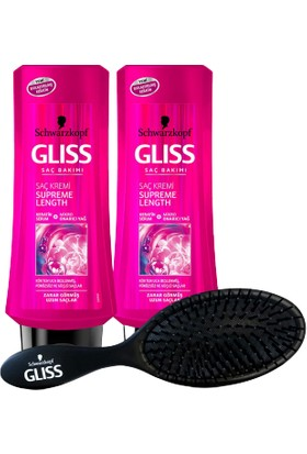 Gliss Schwarzkopf Glıss Supreme Length Saç Kremi 360 ml x 2 Adet + Saç Fırçası