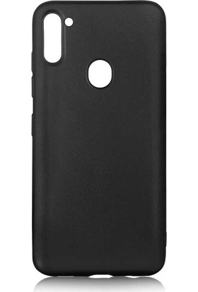 Tekno Grup Samsung Galaxy M11 Kılıf Mat Premium Silikon Kılıf + Cam Ekran Koruyucu Siyah