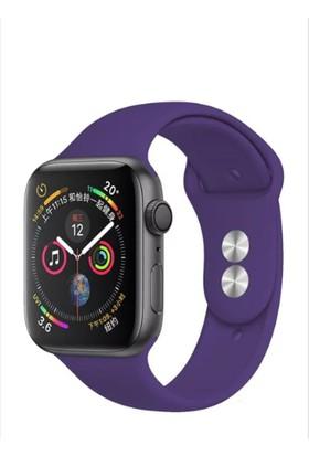 Aceshley Apple Watch 5 4 3 2 1 Serisi 42 mm ve 44 mm Silikon Kordon Kayış Mor Renk