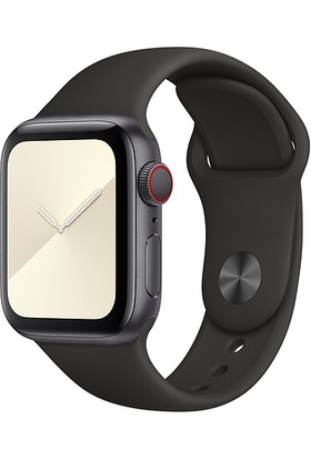 Aceshley Apple Watch 5 4 3 2 1 Serisi 42 mm ve 44 mm Silikon Kordon Kayış Siyah Renk