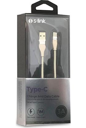 S-Link Swapp Type-C Hızlı Şarj Data Kablosu 3A 1 mt Gold