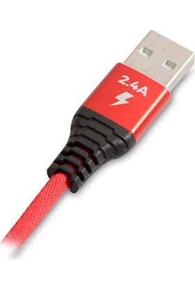 S-Link Swapp Type-C Hızlı Şarj Metal İp Örgü Kablo 1 mt 2.4A Siyah/Kırmızı