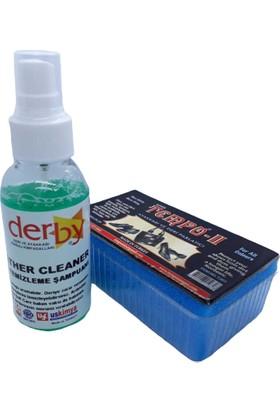 Derby Leather Cleaner Deri Temizleyici Şampuan 100 ml Sprey Parlatıcı Sünger + Boya Süngeri