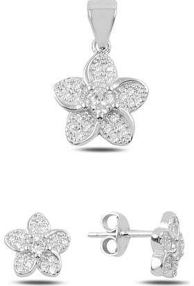 Silverella Gümüş 925 Ayar Zirkon Taşlı Çiçek Küpe & Kolye Ucu Set