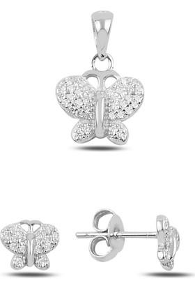 Silverella Gümüş 925 Ayar Kelebek Zirkon Taşlı Küpe & Kolye Ucu Set