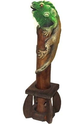 Original Buotique Ahşap Lüks Iguana Tütsülük 35 cm