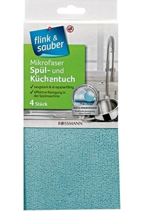 Flink & Sauber Temizlik Bezi Mikrofiber Düz Zeminler İçin 4'lu