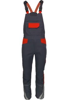 Simgeden İş Elbiseleri Fosforlu İşçi Tulumu Gri - Turuncu 48