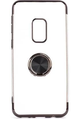 Happyshop Xiaomi Redmi Note 9 Pro Kılıf 4 Köşe Renkli Yüzüklü Laser Gess Silikon + Cam Ekran Koruyucu Siyah