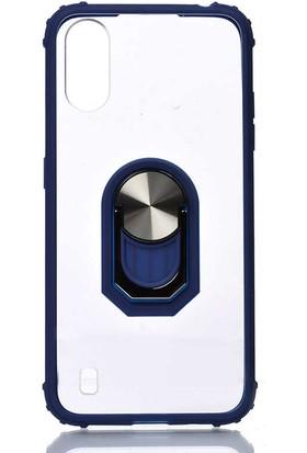 Tekno Grup Samsung Galaxy A01 Kılıf Ultra Korumalı Yüzüklü Standlı Mola Kapak + Nano Ekran Koruyucu Lacivert