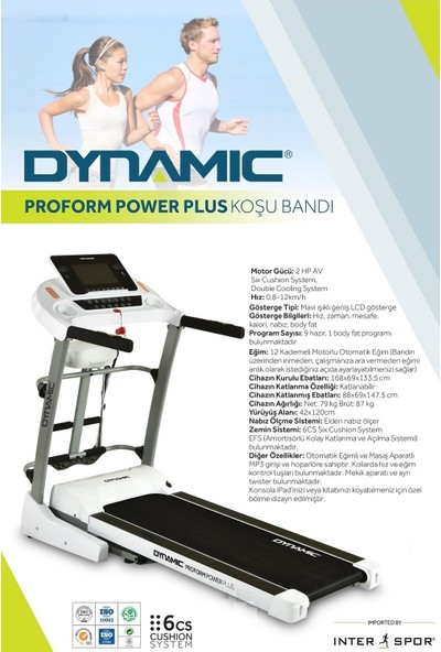 Dynamic Proform Power Plus 2,5 Hp Oto-Eğimli Masajlı Koşu Bandı
