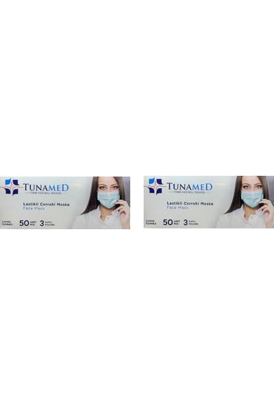 Tuna Med Lastikli Cerrahi Maske Tek Kullanımlık Telli 50 Adet 2'li