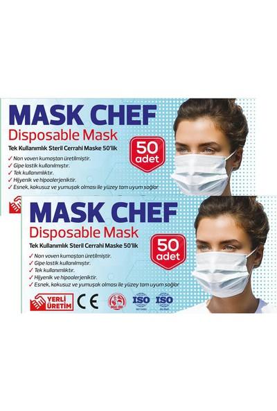 Mask Chef 3 Katlı Burun Telli Cerrahi Maske 50 Adet 2'li