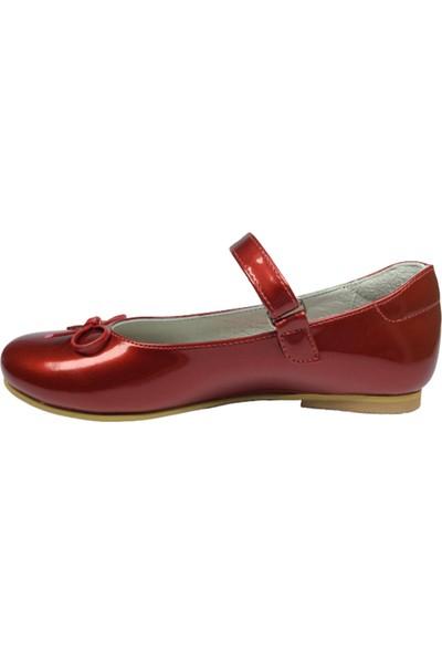 Cici Bebe Filet Babet Kırmızı Rugan Kız Çocuk Ayakkabı Cirtli İçi Deri BRTLI089 Klt