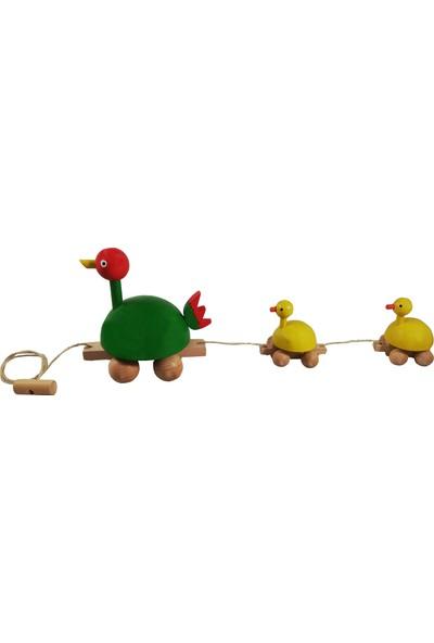 Arda Ahşap Ahşap İpli Çekçek Ördek Ailesi Yeşil