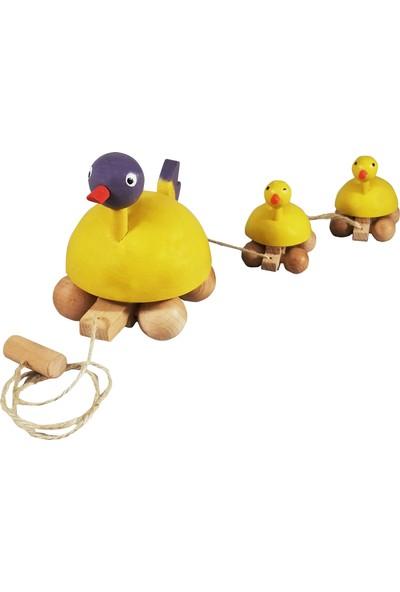 Arda Ahşap Ahşap İpli Çekçek Ördek Ailesi Sarı