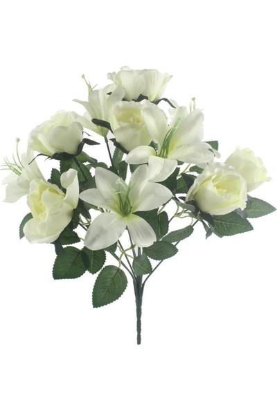 Nettenevime Yapay Çiçek Beyaz Gül ve Lilyum Demeti