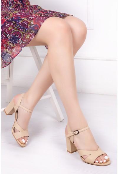 Tarçın Deri Günlük Bej Kadın Ayakkabı TRC71-0038