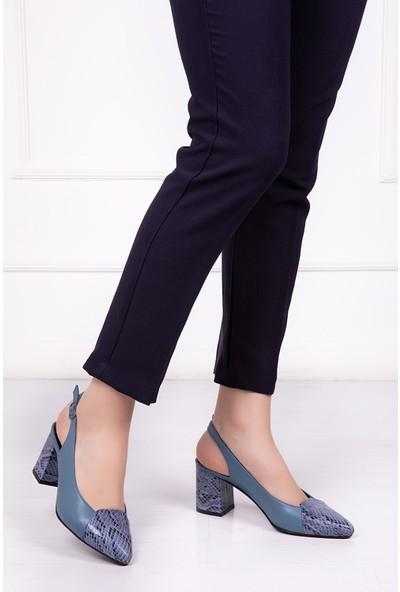 Tarçın Deri Günlük Mavi Yılan Kadın Ayakkabı TRC71-0739
